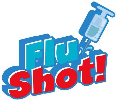 Font design for word flu shot with needle on white background illustration