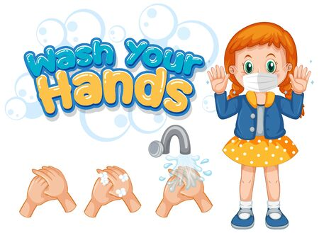 Coronavirus poster design for wash your hands with girl wearing mask illustration