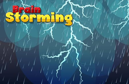 Background with word brain storming and lightening in the rain illustration Vettoriali