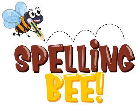 Font design for word spelling bee with bee writing illustration