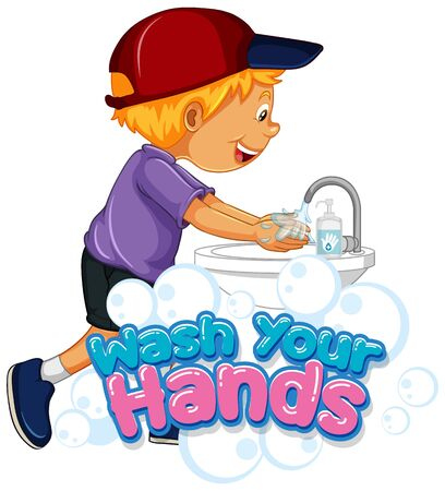 Wash your hands poster design for wash your hands with happy boy illustration