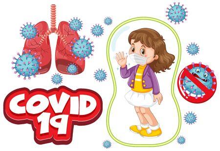 Coronavirus poster design with girl wearing mask illustration