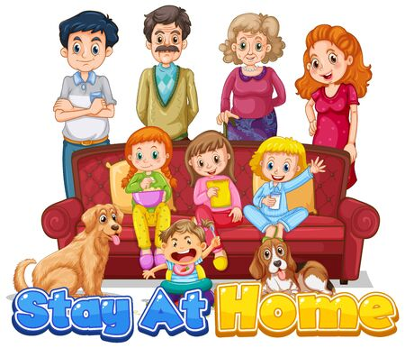 Font design for words stay at home with happy family members illustration