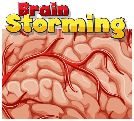 Font design for word brain storming with human brain in background illustration 向量圖像
