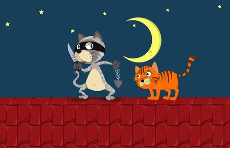 Two cats on the roof at night illustration