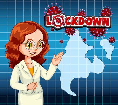 Coronavirus poster design with newsreporter broadcasting illustration