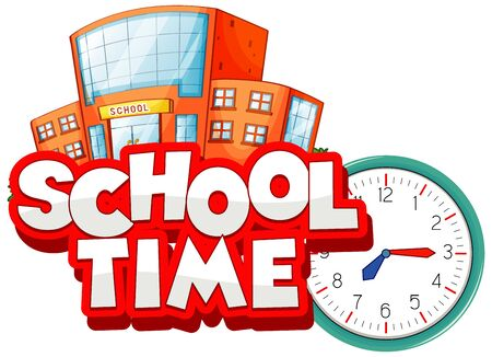 Font design for word school time on white background illustration