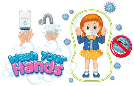 Wash your hands poster design with girl wearing mask illustration