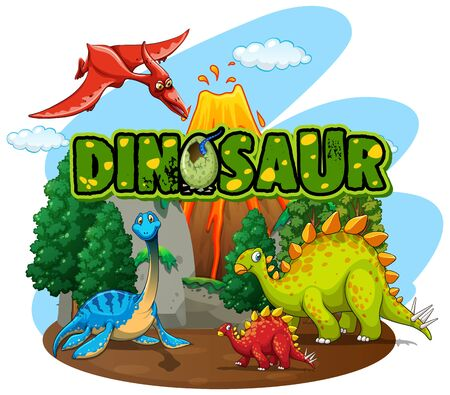 Font design for word dinosaur with many dinosaurs in the forest illustration