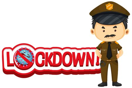 Font design for words lockdown with policeman illustration Vettoriali