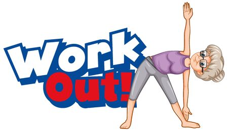 Font design for word work out with old woman doing yoga illustration