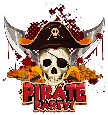 Font design for word pirate party with pirate and skull illustration