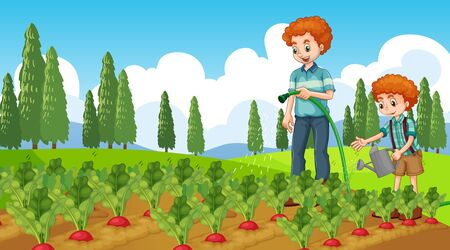 Scene with kid planting trees in the garden illustration
