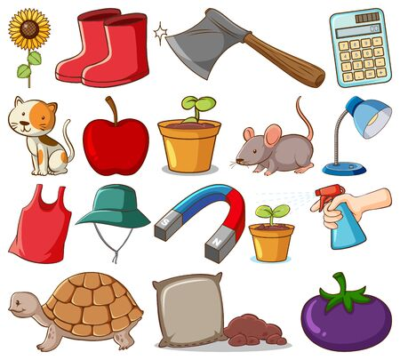 Large set of different food and other items on white background illustration Illustration