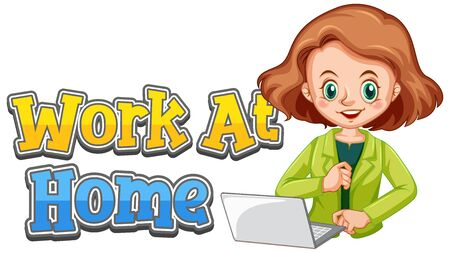 Font design for work at home with woman working on computer illustration