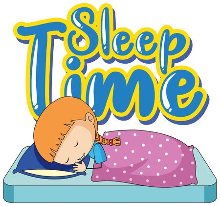 Font design for sleep time with little girl in bed illustration