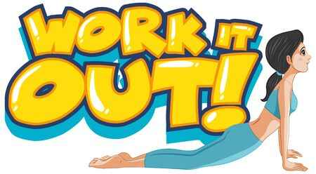 Font design for word work it out with woman doing yoga illustration