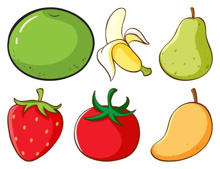 Large set of different types of fruits and vegetables on white background illustration