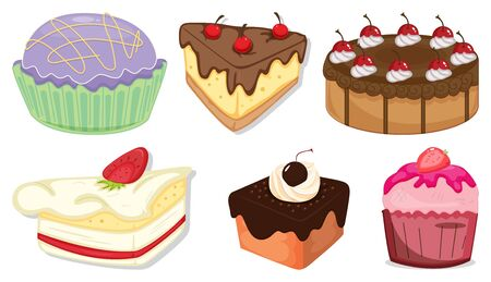 Big set of different menu for desserts on white background illustration Illustration