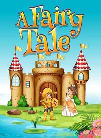 Font design for word a fairy tale with knight and princess illustration Vetores