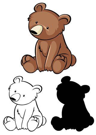 Set of bear cartoon illustration