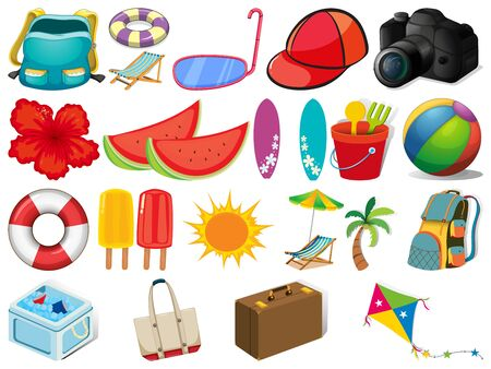 Large set of different summer objects on white