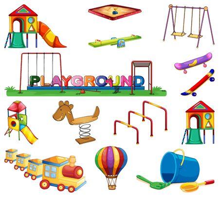 Großes Set mit vielen Spielstationen in der Spielplatzillustration Vektorgrafik