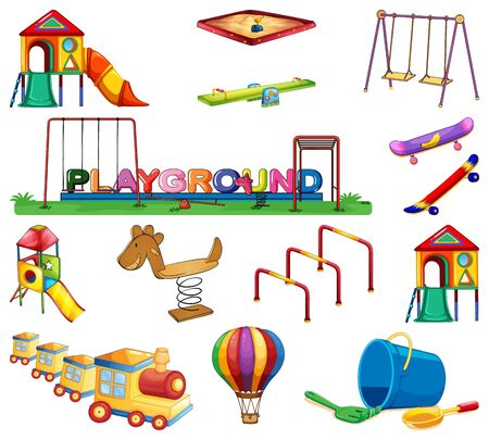 Large set of many play stations in the playground illustration Illustration