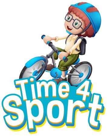 Font design for word time for sport with boy riding a bike illustration Ilustración de vector