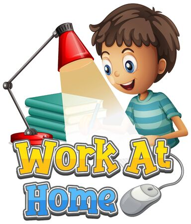 Font design for work from home with boy doing homework