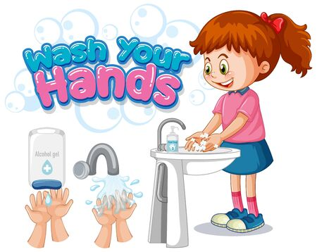 Wash your hands poster design with girl washing hands illustration