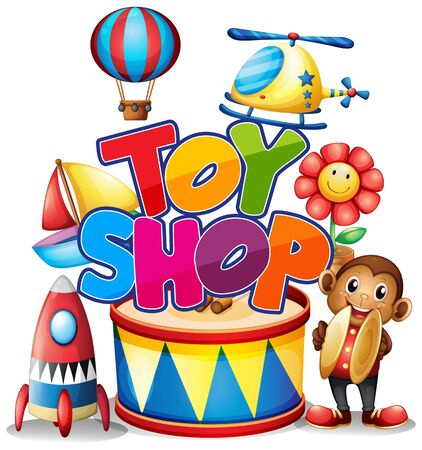 Font design for word toy shop with many toys in the shop illustration