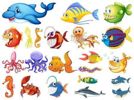Large set of many sea creatures on white background illustration Vetores