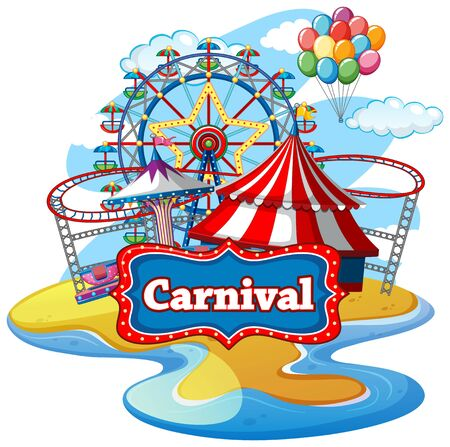Scene with many rides at the carnival on white background illustration