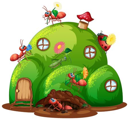 Hill house with many insects on the house illustration Иллюстрация