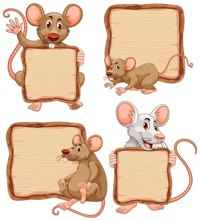 Board template with cute rats on white background illustration