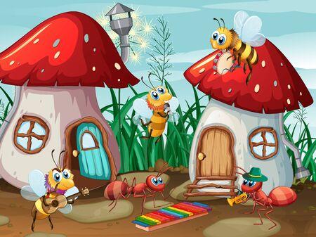 Musician insects at mushroom house illustration Vektoros illusztráció