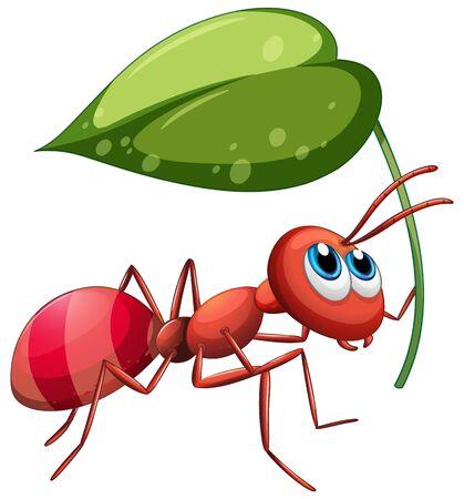 Ant holding green leaf illustration Vector Illustratie