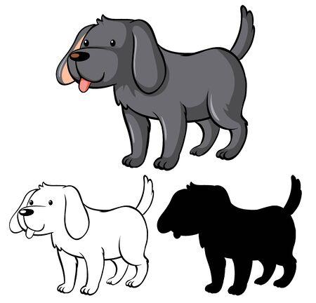 Set of dog cartoon illustration