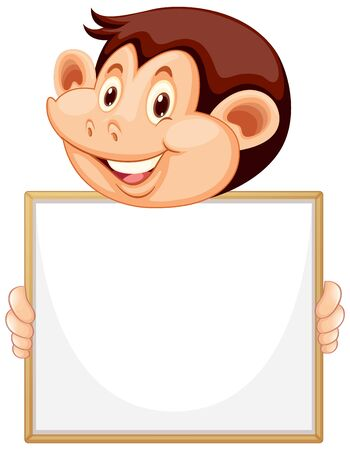 Blank sign template with cute monkey on white background illustration