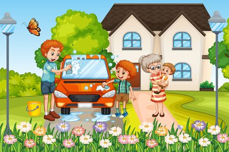 Scene with family having a good time at home illustration Vetores