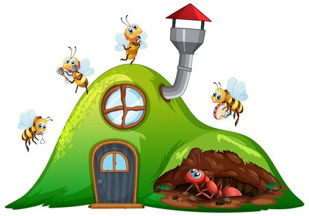 Hill house with bees flying and ant underground illustration Иллюстрация