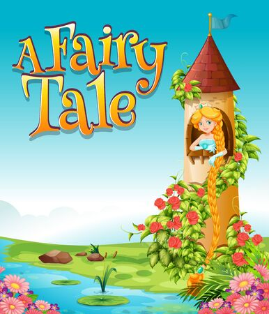 Font design for word a fairy tale with princess in the tower illustration