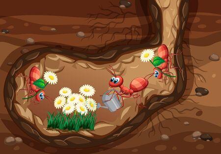 Underground scene with ants planting flowers illustration