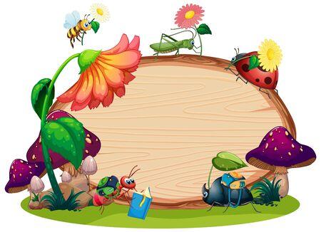 Grenzschablonendesign mit Insekten in der Gartenhintergrundillustration
