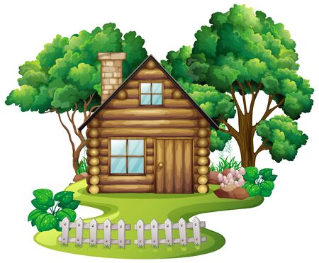 Wooden cottage in the nature illustration Çizim