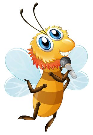Cute bee cartoon character holding microphone on white background illustration