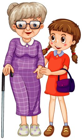 Grandmother and little girl on white background illustration