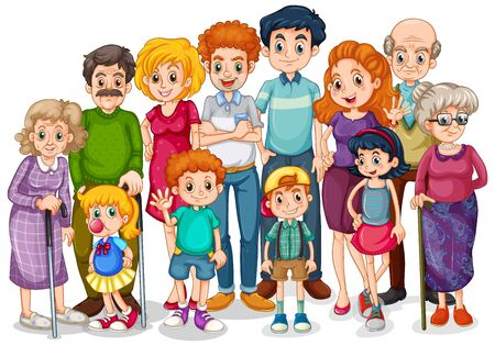 Family members with children and all relatives illustration Vetores