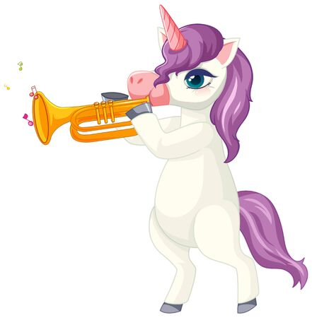 Cute purple unicorn in playing trumpet position on white background illustration